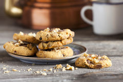 Coffee Break with homemade Walnut Chili Cookies Stock Image