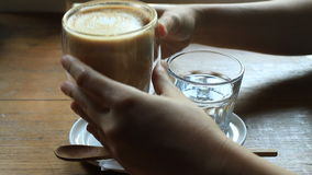 Coffee Break With Hot Coffee Latte stock video footage