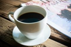 Coffee, break, hot coffee serve for reading time stock photography