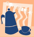 Coffee break image with cup and coffee pot stock photos