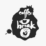 Coffee Break in an Ink Blot. Coffee Break. Hand written calligraphy phrase in an ink blot. White on black. Clipping paths included Royalty Free Stock Images
