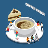 Coffee Break Isometric Composition. With cup of drink and people on saucer on blue background vector illustration Stock Image