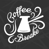 Coffee break logotype design isolated on black. Brewing turkish coffeepot. With white curved steam signs vector illustration in flat style. Sticker or logo for Royalty Free Stock Photos