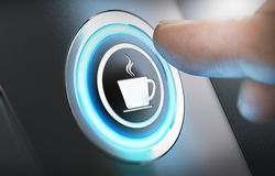 Coffee Break, Machine. Finger pressing a coffee machine button with a cup icon. Break concept. Composite between a photography and a 3D background. Horizontal Stock Images