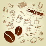 Coffee break menu vector doodles background Stock Photo