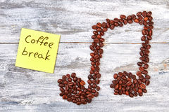 Coffee break message and coffee. Stock Image