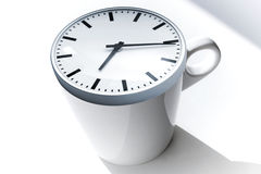 Coffee break metaphor. White cup with clock Stock Image