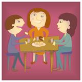 Coffee Break at the Office. A man and two women talking over coffee at the office vector illustration