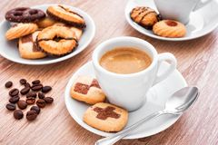 Coffee break pastries and cookies. A coffee break with pastries , and biscuits Royalty Free Stock Images