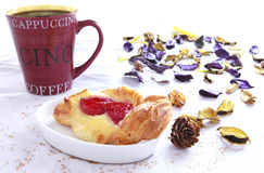 Coffee break with pastry. On daylight Royalty Free Stock Photography