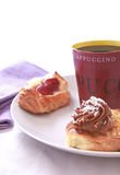 Coffee break with pastry. On daylight Stock Images