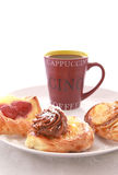 Coffee break with pastry. On daylight stock photo