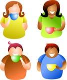 Coffee break people. Diverse people drinking coffee or tea - icon people series Stock Photo
