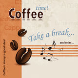 Coffee Break poster retro. Coffee design in 60s style with coffee beans and music notes royalty free illustration