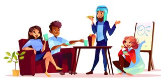 Coffee break at presentation vector illustration. Arabian man treating guests with food and drink at informal business meeting or corporate party. Woman in royalty free illustration
