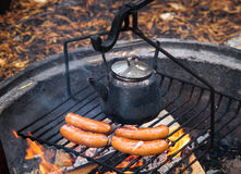 Coffee Break with Sausages Royalty Free Stock Images