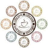 Coffee break set of stamps Royalty Free Stock Photo