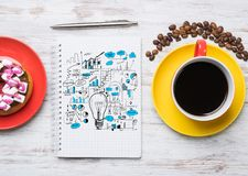 Coffee break with snack Stock Images