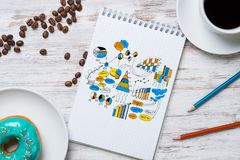 Coffee break with snack Stock Image