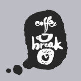 Coffee Break in a Speech Bubble. Coffee Break. Hand written calligraphy phrase in a speech bubble. White on black. Clipping paths included Royalty Free Stock Images
