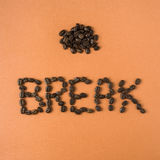 Coffee break spelled out in beans Stock Photography