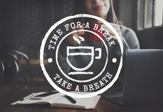 Coffee Break Tea Time Stamp Icon Graphic Concept Stock Photography