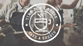 Coffee Break Tea Time Stamp Icon Graphic Concept Royalty Free Stock Photos