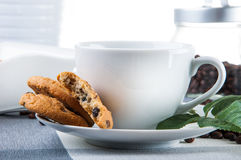 Coffee break theme on kitchen table. Lovely home concept, coffee break Stock Image