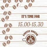 Coffee break banner with coffe cup and light background. Coffee break and coffee time vector banner. Coffee beans Turkish coffee royalty free illustration