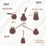 Cezve coffee set for Turkish coffee. Coffee break. Coffee time. Coffee beans Turkish coffee. Jezve set. Small long handled pot. Light background royalty free illustration