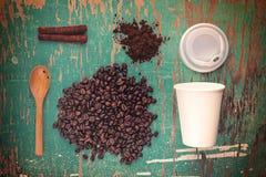 Coffee Break Top View Concept, Vintage Tone Royalty Free Stock Photo