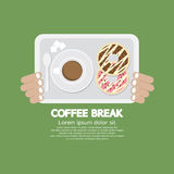 Coffee Break Top View Of Donut And Hot Coffee. royalty free illustration