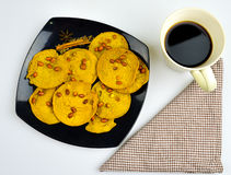 Coffee break with traditional foods in Malaysia, rempeyek Stock Photos