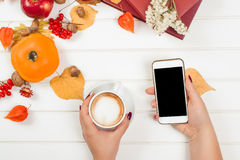 Coffee break, using cell phone. Top view of autumn background. Royalty Free Stock Image
