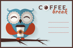 Coffee break. Vector card with owl. Stock Photos