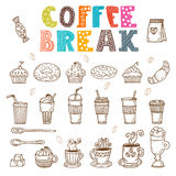 Coffee break. Vector doodle set. Hand drawn coffee elements Royalty Free Stock Images