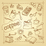 Coffee break vector doodles  background Royalty Free Stock Image