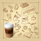Coffee break vector doodles and paper cap Stock Images
