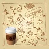 Coffee break vector doodles and paper cap Stock Images