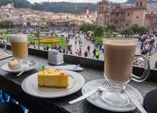 Coffee break and view to Plaza de Arms stock image