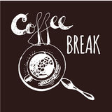 Coffee Break. Vintage Hand Drawn Design Elements For Coffee Shop, Market, Cafe . Printable Typography for Card, Poster, Banner, T- Royalty Free Stock Images