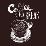 Coffee Break. Vintage Hand Drawn Design Elements For Coffee Shop, Market, Cafe . Printable Typography for Card, Poster, Banner, T- Stock Photography