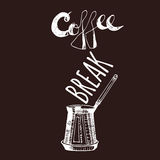Coffee Break. Vintage Hand Drawn Design Elements For Coffee Shop, Market, Cafe . Printable Typography for Card, Poster, Banner, T- Stock Images