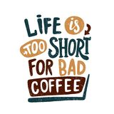 Coffee break vintage illustration. Brown color. Hand drawn lettering, letter. Royalty Free Stock Photo