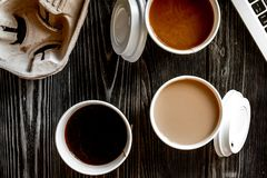 Coffee break at wooden background top view Stock Photo