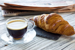 Coffee break. On a wooden board royalty free stock photo
