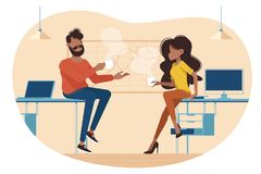 Coffee break at work. Colleagues talking during break. Vector illustration vector illustration