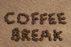 Coffee Break Written in coffee Beans Stock Photos