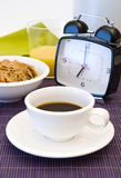 Coffee breakfast and alarm clock Royalty Free Stock Image