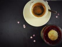Coffee breakfast brown caffeine cup cafe dessert. Creamycup coffee hotdrink sweetset love hearts Stock Photo